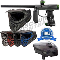 Empire Axe Paintball Gun Grey Dust/ Black/ Green Polished with E-Vent Goggles and FREE Scion Loader