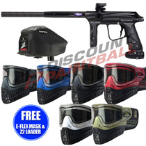 Empire Vanquish Paintball Gun w/ 1.5 Upgrade Tuxedo Black with FREE E-Flex Mask and Z2 Loader