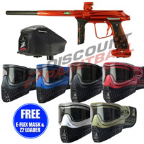 Empire Vanquish Paintball Gun w/ 1.5 Upgrade Atomic Orange with FREE E-Flex Mask and Z2 Loader