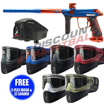 Empire Vanquish V 1.5 Paintball Gun Electric Blue Atomic Orange with FREE E-Flex Mask and Z2 Loader