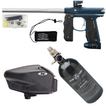 Empire Mini GS Paintball Gun Blue/ Silver Dust Package D