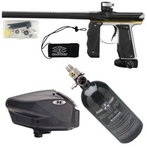 Empire Mini GS Paintball Gun Black/ Silver/ Yellow Dust Package D