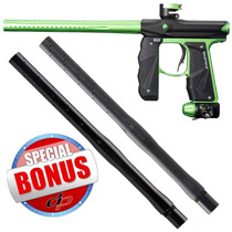 Empire Mini GS Paintball Gun Black/Lime Green Dust with FREE Empire Driver XX 2pc Barrel 14 Inch