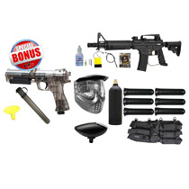 Tippmann US Army Alpha Black Elite Electronic Paintball Starter Package and JT ER2 Pistol