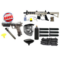 Tippmann US Army Project Salvo Paintball Starter Package Tan / Black and JT ER2 Pistol