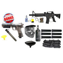 Tippmann US Army Alpha Black Elite Electronic Paintball Rookie Package and JT ER2 Pistol