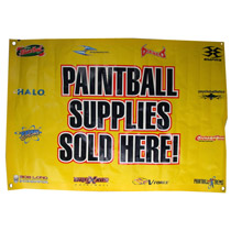 Paintball Supplies Sold Here Banner - Yellow