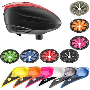 Dye LT-R Paintball Loader with Color Kit and Quick Feed Kit Black Red