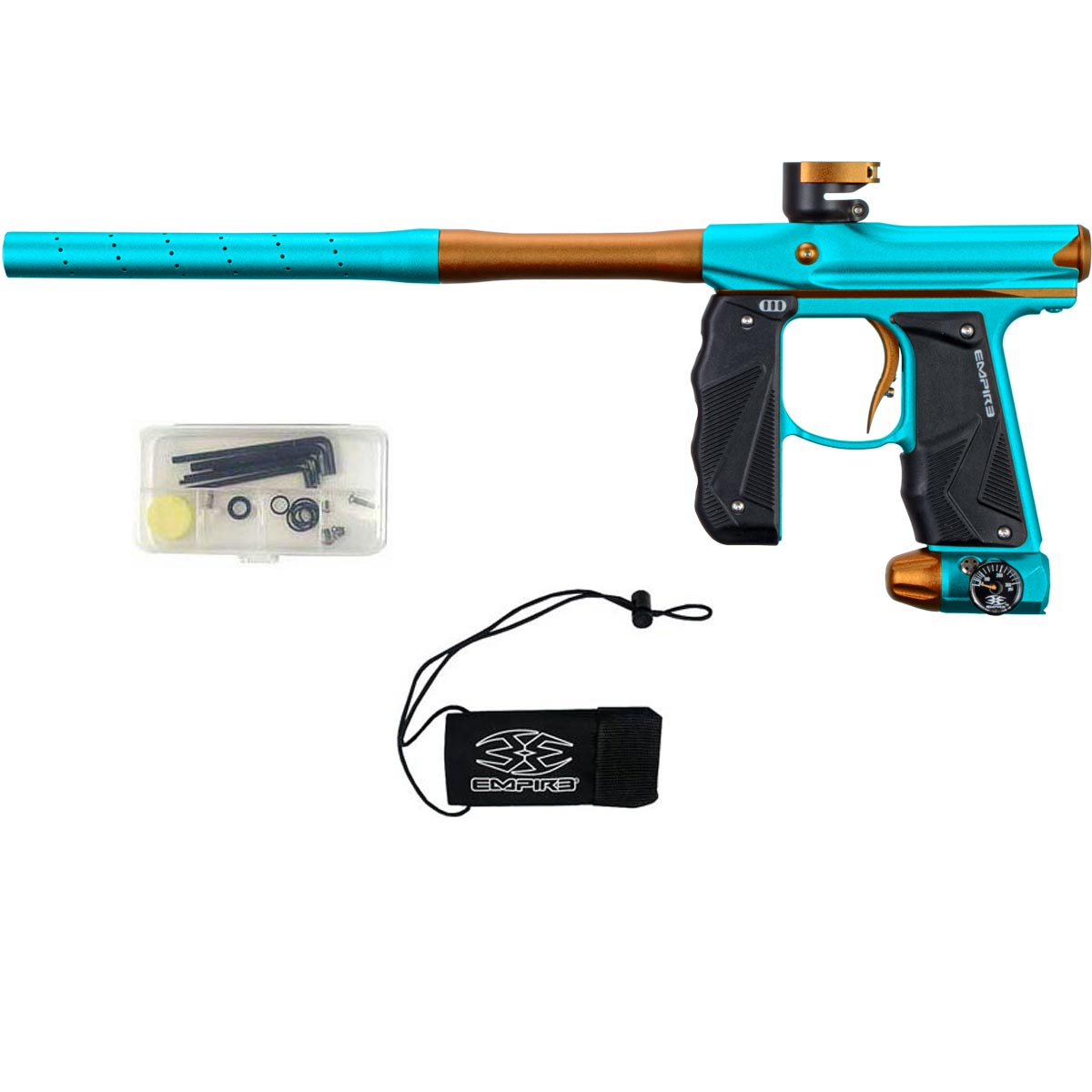 Empire Mini GS Paintball Marker Aqua Orange Dust w 2 PC Barrel