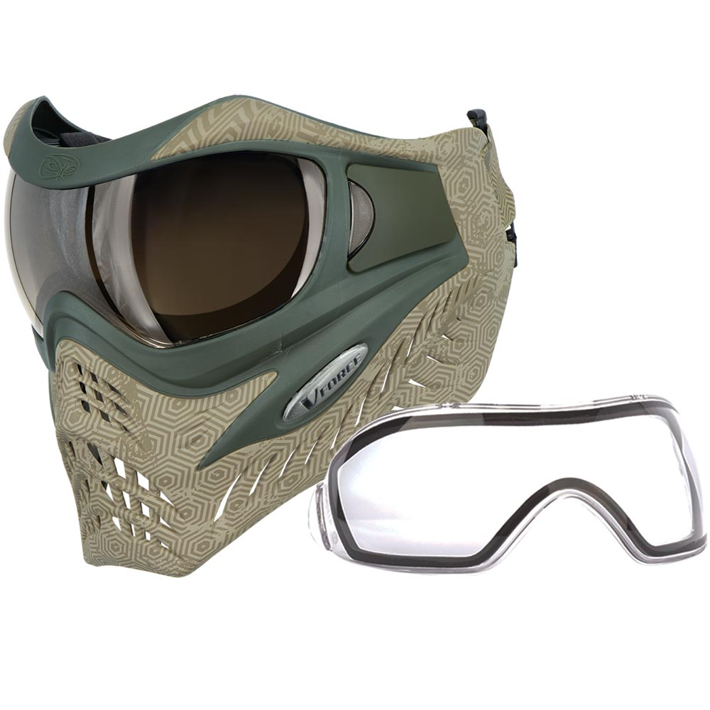 VForce Grill SE Hextreme Sand Paintball Mask w HDR and Clear Lens