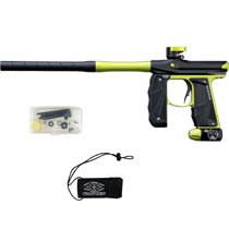 Empire Mini GS Paintball Gun Black Lime Green Dust w 2 PC Barrel