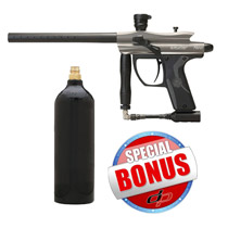 Kingman Spyder Fenix Paintball Gun Silver Grey with FREE 20 oz Co2 Tank