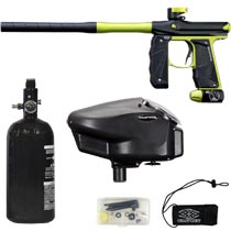 Empire Mini GS Paintball Gun Black / Lime Green Dust w 2 PC Barrel Rookie Package