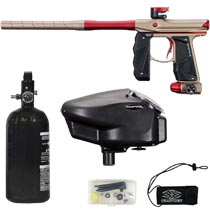 Empire Mini GS Paintball Marker Tan / Red Dust w 2 PC Barrel Rookie Package