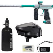 Empire Mini GS Paintball Marker Grey / Teal Dust w 2 PC Barrel Rookie Package