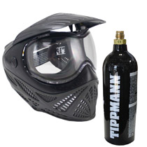 Tippmann Intrepid Thermal Paintball Goggle Black Grey with Free 20oz Co2 Tank