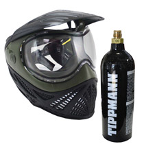 Tippmann Intrepid Thermal Paintball Goggle Black Olive with Free 20oz Co2 Tank