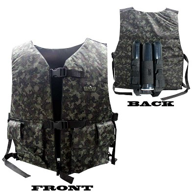 GXG Tactical Vest / Chest Protector with 2+1 Pouch Reversible Black/Digi Camo