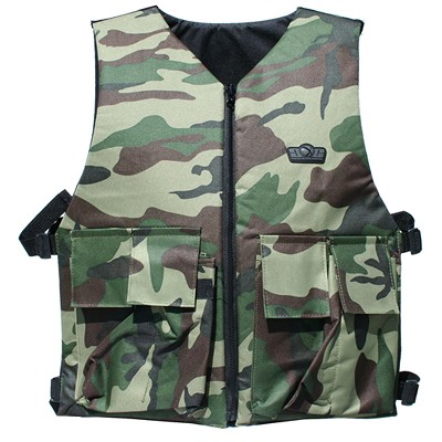 GXG Tactical Vest / Chest Protector with 2+1 Pouch Reversible Woodland / Black