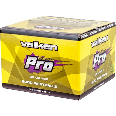 Valken Redemption Pro Paintballs 2000 Rounds Metallic Blue Shell Yellow Fill