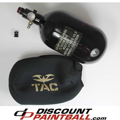 Ninja 68 ci 4500 psi Carbon Fiber Paintball Air Tank Black Mid Pressure w/ tank cover *Used 08/11 Hyrdro*