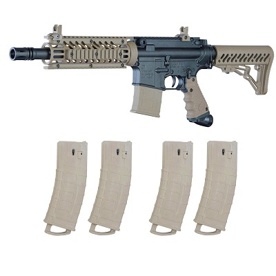 Tippmann TMC Magfed Paintball Marker Milsim Combo with 4 Magazines Tan